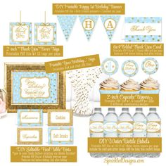 Welcome to Sprinkled Designs!  ★ This listing is for a non-customizable BABY BLUE & GLITTER GOLD PRINTABLE PARTY PACK made to coordinate with my