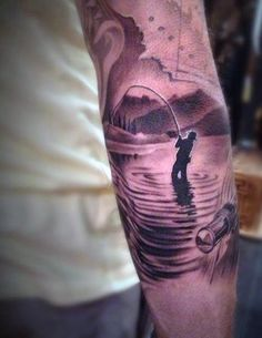 Elbow Nature Fishing Tattoos Designs For Males