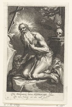 Boëtius Adamsz. Bolswert | Heilige Hiëronymus van Betlehem als kluizenaar, Boëtius Adamsz. Bolswert, Abraham Bloemaert, 1590 - 1612 |