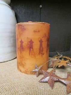 """Primitive LED TIMER Pillar Candle - Grungy - 4"""" x 3"""" Wide - Dark RED STARS #Unbranded"""