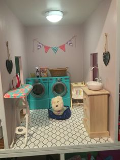 American girl doll dollhouse laundry room diy