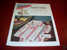 1947 Vintage Regency Stripes Men's Pajamas Fashion Ad   eBay