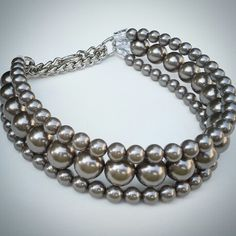 """Beadie Babies """"The Via"""" Pearl Martingale Collar in Charcoal. Available on Etsy"""