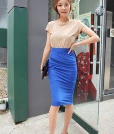 Stylish Pattern Pure Color Skirt Blue Waist Skirt, High Waisted Skirt, Pure Products, Stylish, Skirts, Pattern, Blue, Beautiful, Color