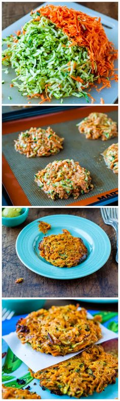Paleo: Baked Chipotle Sweet Potato and Zucchini Fritters (vegan, gluten-free) & Homemade Spicy Honey Mustard - You don't have to fry these healthy fritters in gobs of oil. They're baked, satisfying, and a great way to work in extra veggies! Veggie Dishes, Veggie Recipes, Whole Food Recipes, Vegetarian Recipes, Cooking Recipes, Healthy Recipes, Recipes Dinner, Vegetarian Dish, Side Dishes
