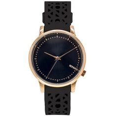 Improve your style with a glossy rose gold metal case with a black face and black genuine leather cutout design wristband. Topshop, Watches, Accessories, Black, Jewelry, Women, Fashion, Metal, Leather