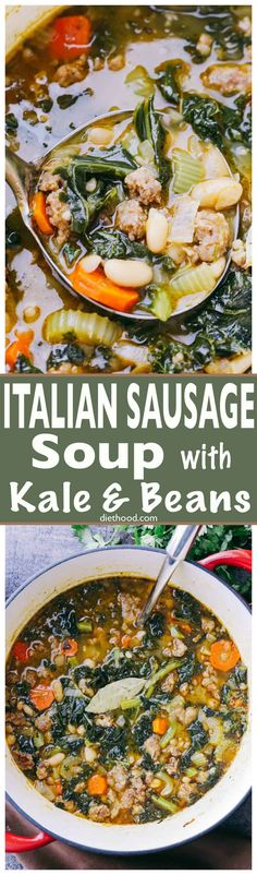 Italian Sausage Soup with Kale and Beans - Hearty and incredibly delicious soup . Italian Sausage Soup with Kale and Beans - Hearty and incredibly delicious soup prepared with Italian Sausage, onions, garlic, kale, and beans! Healthy Soup Recipes, Chili Recipes, Cooking Recipes, Paleo Dinner, Dinner Recipes, Italian Sausage Soup, Italian Soup, Garlic Kale, Garlic Soup