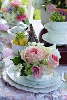 Southern Spring Table - delicate rosebud china and beautiful fragrant roses.