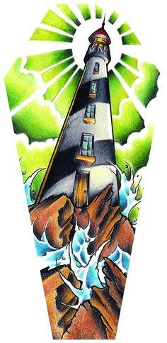 Light House by Jay Boss Old School Stormy Seas Coffin Canvas Art Print – moodswingsonthenet