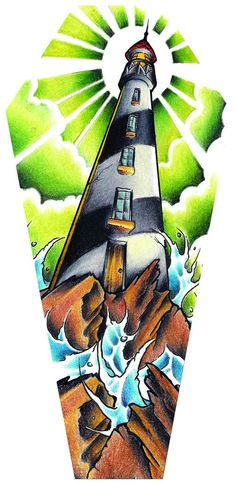 Light House by Jay Boss Old School Stormy Seas Coffin Canvas Art Print – moodswingsonthenet