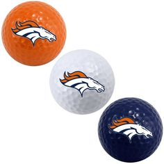 Broncos golf balls--- Thinking christmas present! Go Broncos, Nfl Denver Broncos, Broncos Fans, Gifts For Golfers, Golf Gifts, Bronco Car, Broncos Cheerleaders, Golf Ball Crafts, Golf Exercises