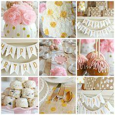 Esta decoración es perfecta para una niña :) Dorado y Rosado ... que combinación!