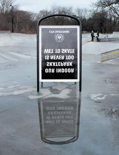 Indoor Skate park turns a puddle into an advert about staying dry