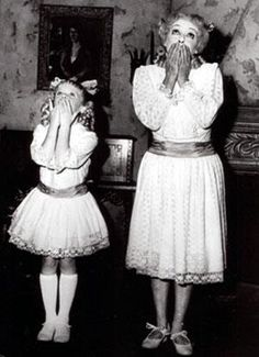 1962 Julie Allred & Bette Davis in WHatever Happened To Baby Jane--decaying hollywood mansion's