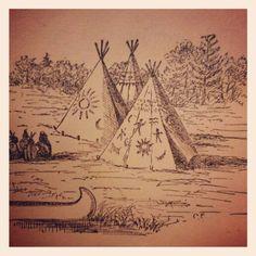 1898. Native American teepees. Vintage book illustration. Collection of Stephen Parfitt, Springfield, Illinois.