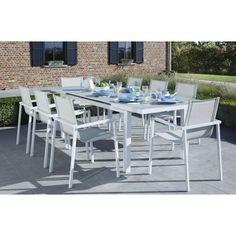 Ensemble de jardin WhiteStar 8 comprenant 1 table de jardin en aluminium et verre blanc, 8 fauteuils de jardin en aluminium et assise grise en Textilène à séchage très rapide.Cet ensemble est un formidable concept contemporain,de lignes épurées au confort étudié.