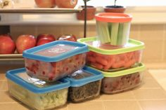 Organized Fridge: Prepped Fruits & Veggies