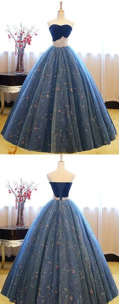 A-Line Sweetheart Floor-Length Dark Blue Prom Dress with Beading