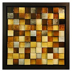 Hand painted 3-D wood blocks with high gloss, framed with a square espresso frame.
