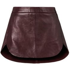 Michelle Mason Women's Rounded Hem Leather Mini Skirt (1.945 BRL) ❤ liked on Polyvore featuring skirts, mini skirts, leather miniskirt, brown mini skirt, leather zipper skirt, real leather skirt and short mini skirts