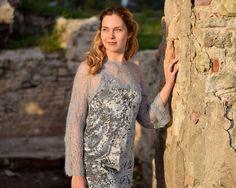 Silver wool silk bolero crystal Swarovski Handmade lace grey