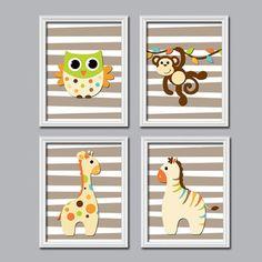 Boy Wall Art Nursery Canvas Artwork Child Jungle Animal Beige Brown Giraffe Owl Zebra Monkey Monogram Name Set of 4 Prints Crib Baby Room