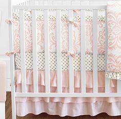 Blush Pink White Damask and Gold Polka Dot Amelia Baby Girls 9 Piece Crib Bedding Set with Bumper