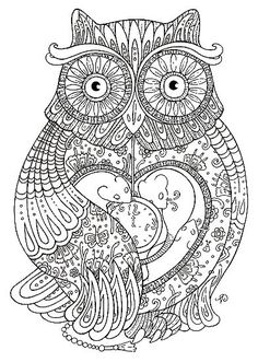 ☮ American Hippie Zentangle Coloring Page Art ☮ Owl