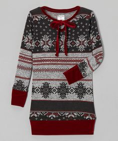 Take a look at this Sidaka Kaye Clothing Gray Fair Isle Velvet Tunic - Toddler & Girls on zulily today!