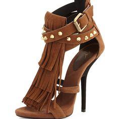 Studded Fringe Suede Sandal, Light Brown - Giuseppe Zanotti - Light brown