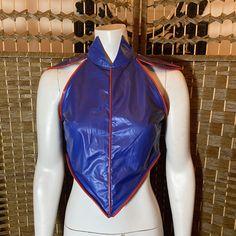 Goth Shop, Club Tops, Vinyl Fabric, Cobalt Blue, Cyberpunk, Indie, Brand New, Red, Vintage