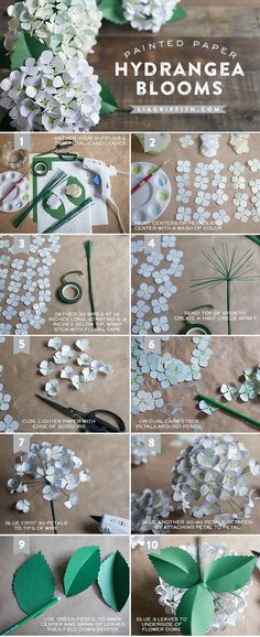 DIY Paper Hydrangea Flowers Make These Gorgeous Paper Hydrangeas Paper crafts and paper flowers Crepe Paper Flowers, Felt Flowers, Diy Flowers, Fabric Flowers, Flower Paper, Paper Flowers How To Make, Paper Flowers Wedding, Flower Diy, Ribbon Flower