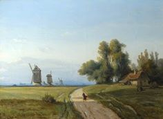 Josephine Bowes, Landscape with Trees and a Cottage, Windmills in the Distance (The Bowes Museum)
