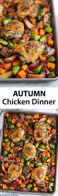 One Pan Autumn Chicken Dinner – one of my favorite fall recipes! Comforting goo… One Pan Autumn Chicken Dinner – one of my favorite fall recipes! Comforting good for the soul food and great way to use up seasonal produce. Cooking Recipes, Pan Cooking, Healthy Recipes, Keto Recipes, Fall Recipes, Dinner Recipes, Fall Dinner, One Pot Meals, Soul Food