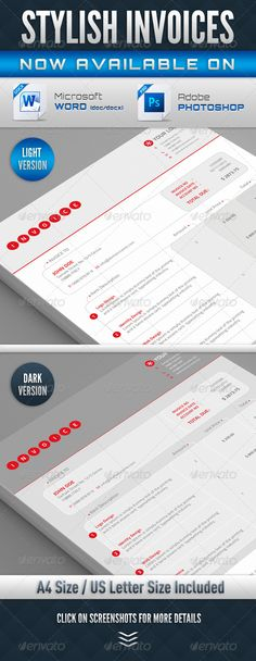 Stylish Invoices PSD & Word Version ... a4 invoice, business, clean, cool, corporate, dark, design, editable, elegant, invoice, letter invoice, light, modern, photoshop invoice, print ready, psd invoice, real wording, red, stylish, stylish invoice, word invoice