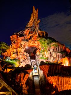 Splash Mountain at Disneyland    I set my tripod up to do multiple exposures and on the last and the longest a log went down the shoot and the flash went off for the photo you can purchase at the end of the ride. I was quite surprised when I looked at the screen to see how cool it was that their flashes light up the scene so perfectly. 5 shot HDR run through Photomatix. A little photoshop to remove my brothers large head from the bottom of the photo. Thanks Gary for getting in the way.