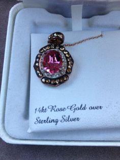 14K Rose Gold Over Sterling Silver Necklace Artistique Swarovski Elements - SALE | eBay