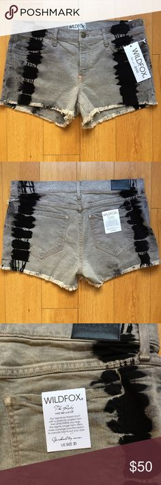 "NWT Wildfox ""Ruby"" Boho Cutoff Jean Shorts Wildfox ""Ruby"" Boho Cut-off Shorts  🔹Gray with Black Tie-Dye Striping 🔹Mid-Rise Cut-off / 2"" Inseam 🔹Size 31 🔹98% Cotton/2% Spandex  Instagram: effortless_beauty_boutique  👍🏻Top Rated Seller 👍🏻Fast Shipper 🚫No Trades Wildfox Shorts Jean Shorts"
