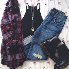 Grunge outfit idea nº18: Red wash flannel, black sleeveless T, torn jeans, black Doc Martens