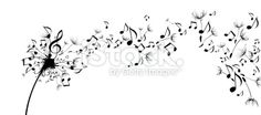Musical notes floating as dandelion seeds Royalty Free Stock Vector Art Illustration >1200