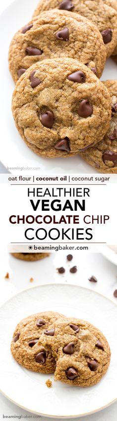 Soft, chewy, crispy on the bottom Healthier Vegan Chocolate Chip Cookies. Made with oat flour, whole wheat flour, organic unrefined coconut sugar and coconut oil. BEAMINGBAKER.COM #vegan #healthier