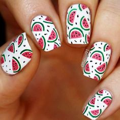 31 Cute Nail Designs That You Will Like For Sure We have done all the hard work, and our experts who are familiar with all the latest mani trends have created this photo gallery for you to discover the freshest nail art ideas.Are you new to nail art or ju Nail Art Designs, Simple Nail Designs, Beautiful Nail Designs, Really Cute Nails, Cute Nail Art, Food Nail Art, Fruit Nail Art, Nail Art Halloween, Watermelon Nails