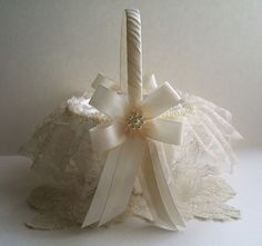 Wedding Flower Girl Basket Handmade PEARL by RoseGardenStitches