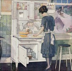 This beautiful ad for a Hoosier cabinet was published in Ladies Home Journal. Imagine working in one of the 1922 Bennett kit homes . maybe the the Aberdeen would have been nice? See Antique Home & Style Kitchens for more design inspiration. 1920s Kitchen, Vintage Kitchen, Hoosier Cabinet, Art Deco, Vintage Appliances, Vintage Interiors, Cabinet Styles, Kit Homes, Vintage Ads