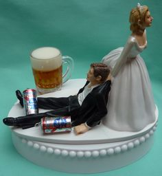Wedding Cake Topper Pabst Blue Ribbon PBR Beer Mug Cans Drinking Drinker Groom Themed w/ Bridal Garter Beverage Humorous Bride Dragging Fun by WedSet on Etsy https://www.etsy.com/listing/118539912/wedding-cake-topper-pabst-blue-ribbon