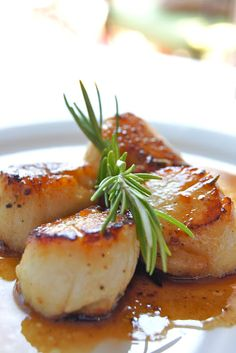 Seared Scallops with Rosemary Butter Sauce.