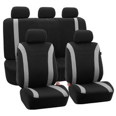 FH Group Black Cosmopolitan Flat Cloth Auto Seat Covers