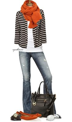 Fall style - love the black white stripe with pop of orange!