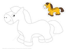 Trace and Color Cartoon Toy Horse   Free Printable Puzzle Games