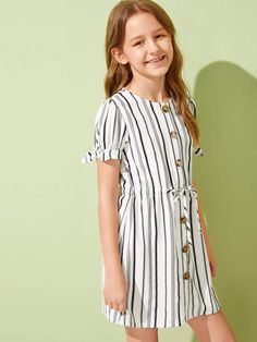 Girls Button Front Drawstring Waist Striped Dress Summer Dress Bodycon Casual Women Dress Slash Neck Off The Shoulder Package Hip Slim Women Party Dress Cute Girl Outfits, Little Girl Dresses, Kids Outfits, Girls Dresses, Edgy Dress, The Dress, Kids Frocks Design, Frock Design, Kids Fashion